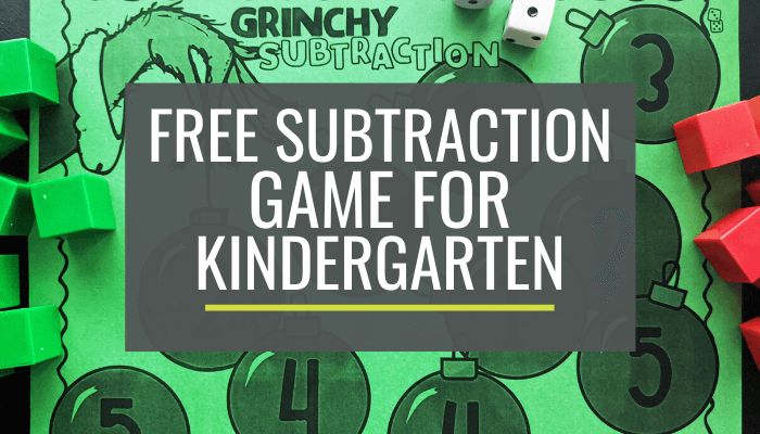 Free Grinchy Kindergarten Subtraction Game