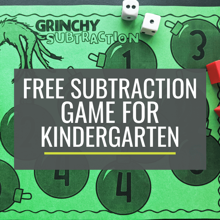 Free Grinchy Subtraction Game for Kindergarten
