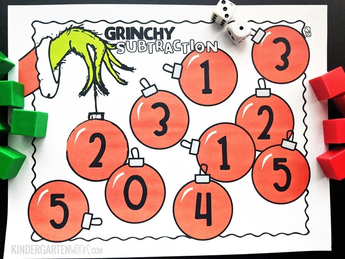 Free Grinchy Theme Subtraction Within 5 Game for Kindergarten