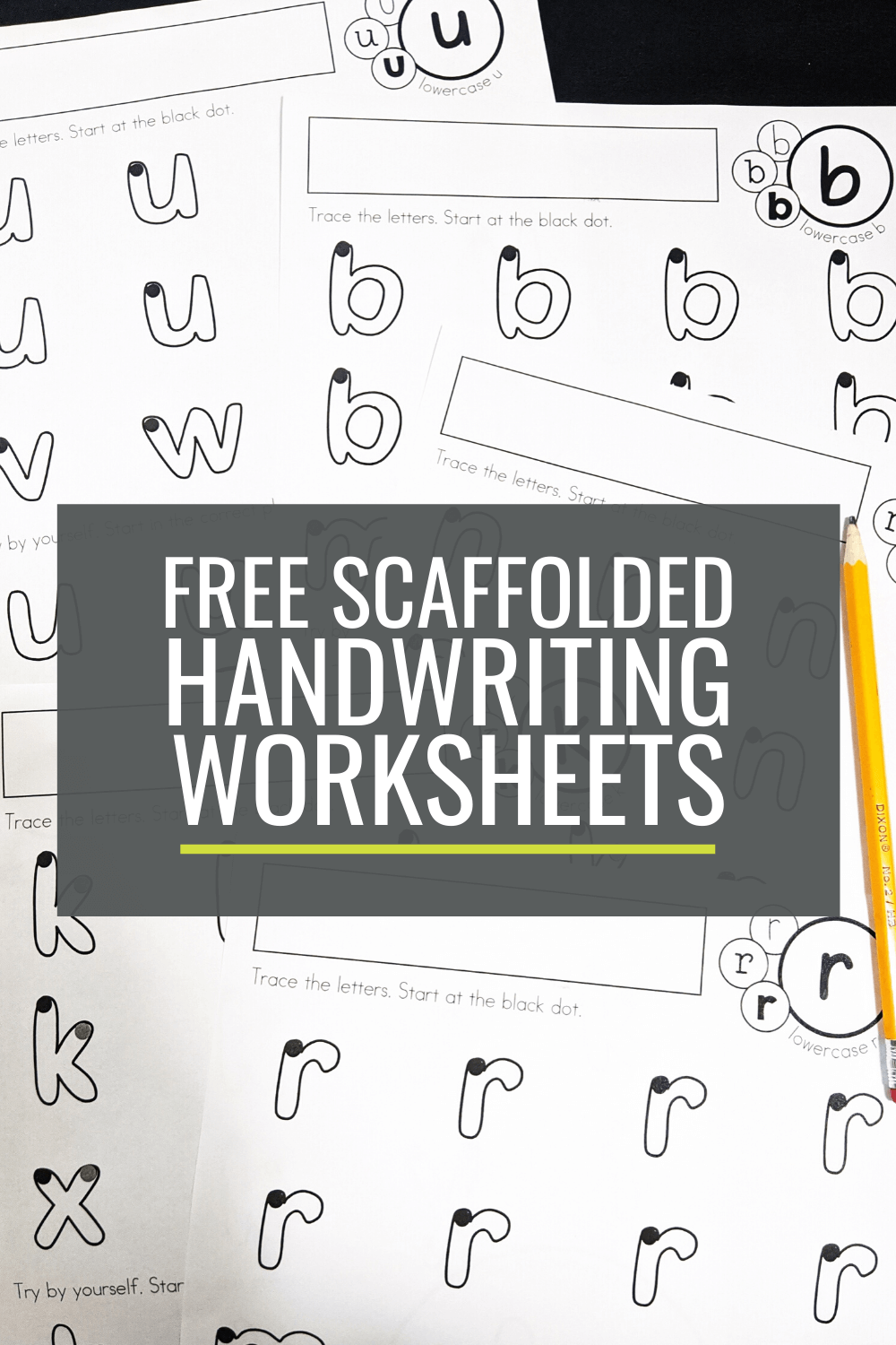 Free Scaffolded Handwriting Worksheets for Kindergarten: Lowercase a-z