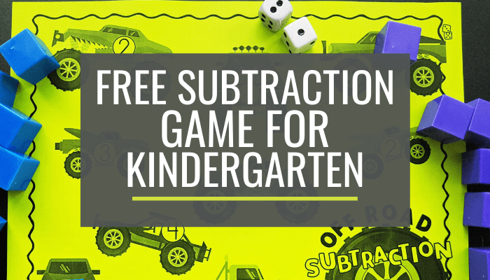 Free Monster Truck Kindergarten Subtraction Game