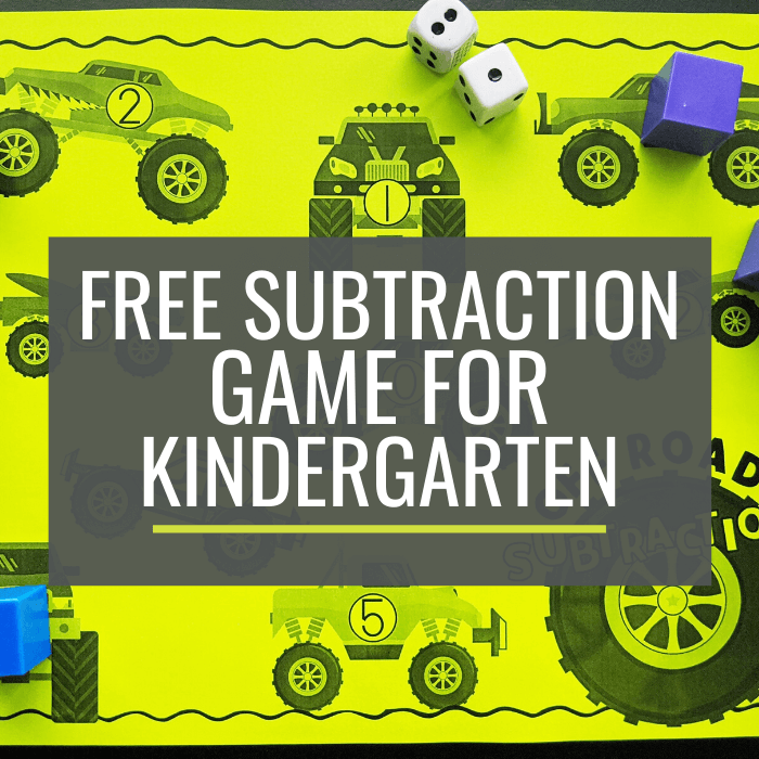 Free Monster Truck Subtraction Game for Kindergarten