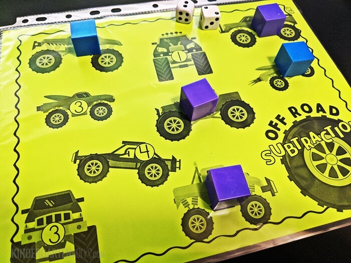 Free Monster Truck Subtraction Within 5 Game for Kindergarten