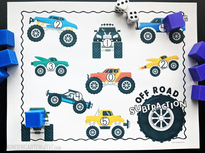 Free Monster Truck Theme Subtraction Within 5 Game for Kindergarten