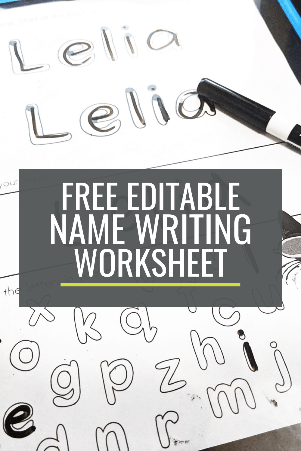 Free Name Writing Practice Sheet for Kindergarten