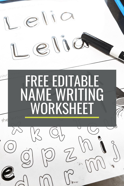 Free Name Writing Practice Sheet for Kindergarten