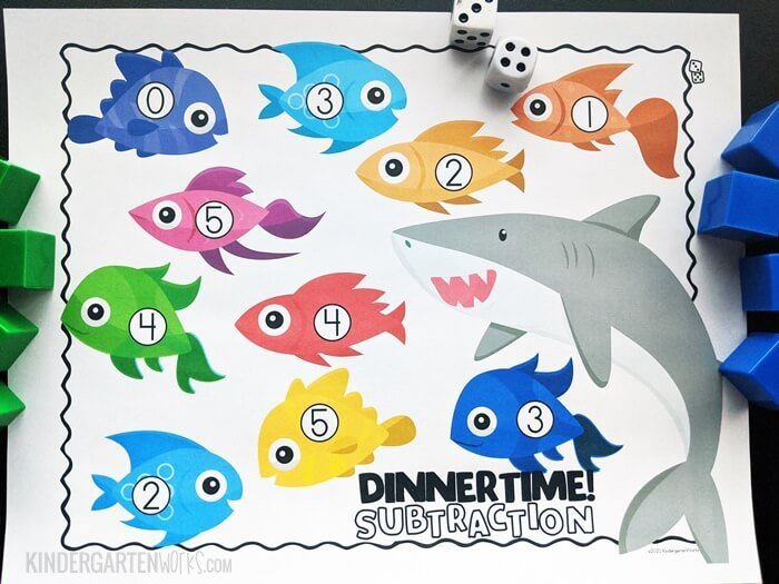 Free Ocean Theme Subtraction Within 5 Game for Kindergarten