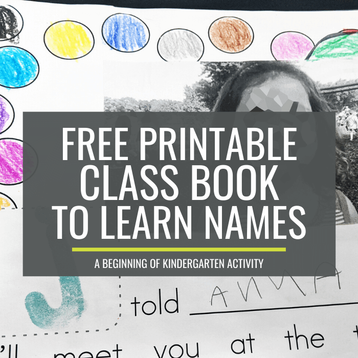 Free Printable Class Book to Learn Names at the Beginning of Kindergarten