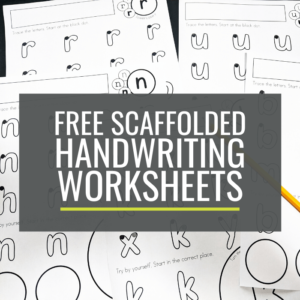 Free Scaffolded Handwriting Worksheets for kindergarten lowercase a-z