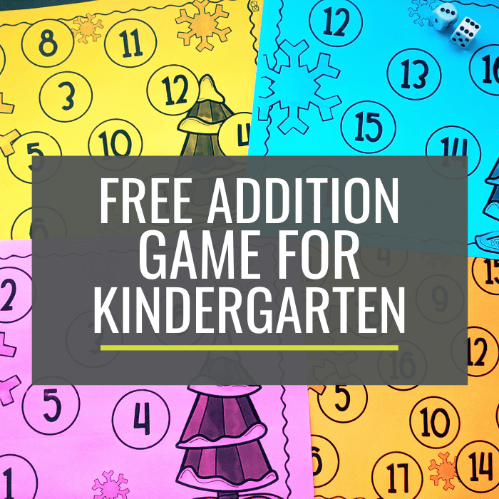 Free Wintertime Addition Game for Kindergarten