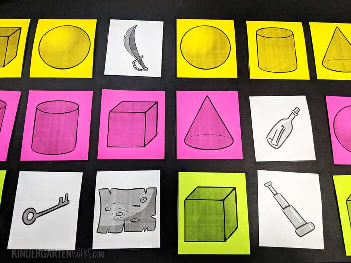 Hide lost pirate loot for a fun 3D shapes game in kindergarten