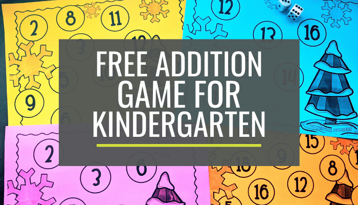 Kindergarten Wintertime Addition Bump Game Printable