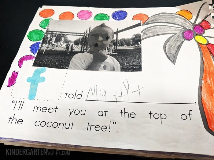 Student page of class book of names in kindergarten