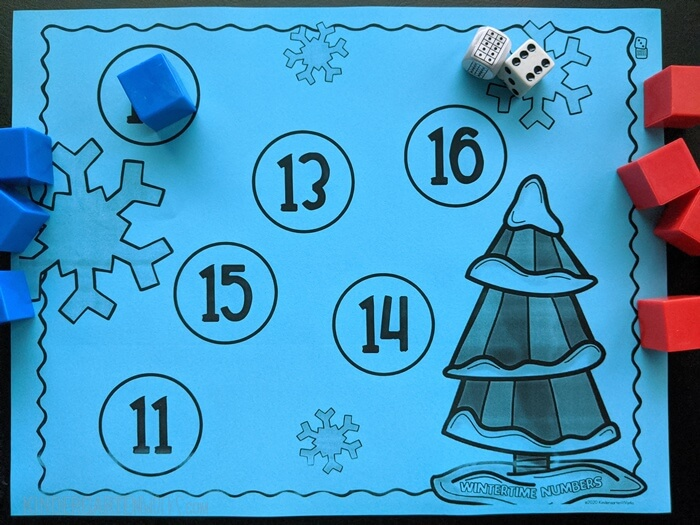free Composing teen numbers wintertime bump game for kindergarten with ten frame dice