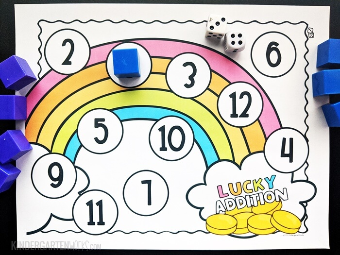 free St. Patrick's Day adding bump game for kindergarten with 2 dice