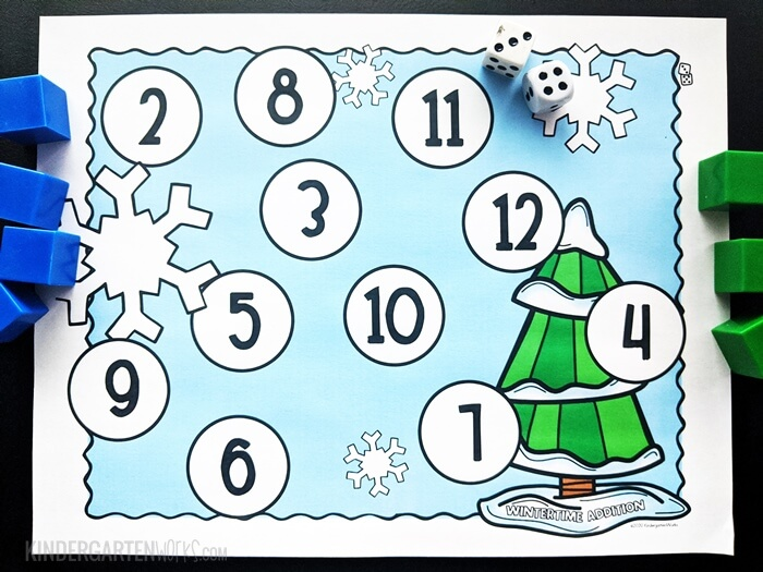 free Wintertime adding bump game for kindergarten with 2 dice