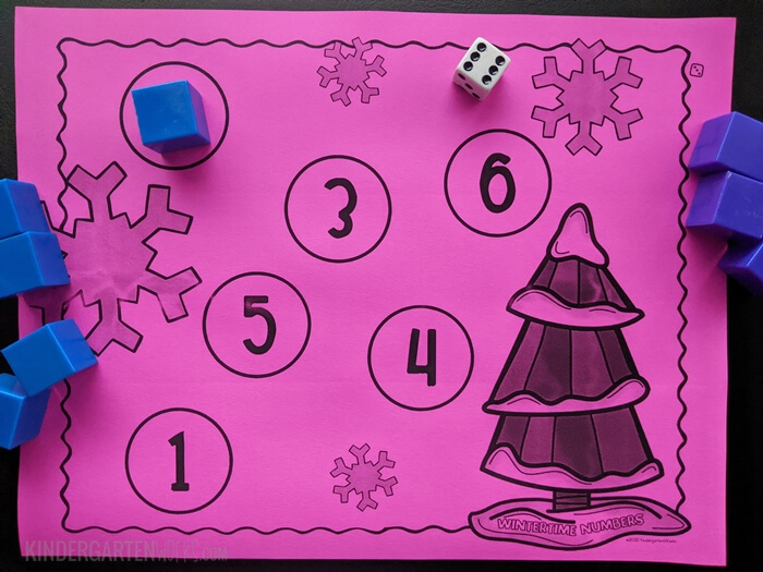 free Wintertime addition bump game for kindergarten with 1 die