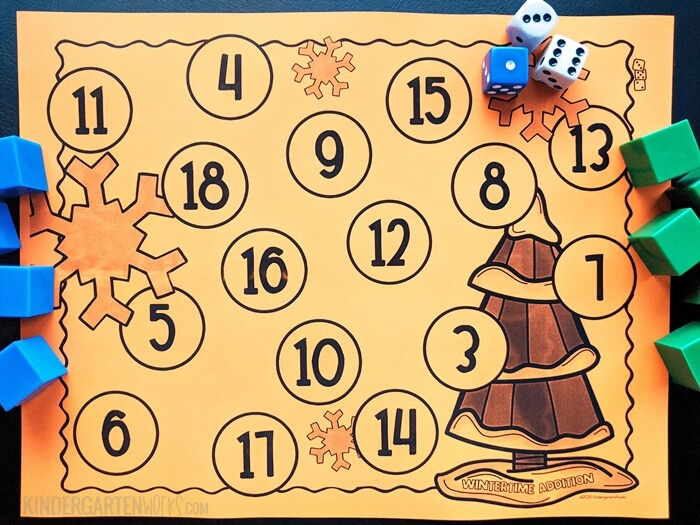 free Wintertime addition bump game for kindergarten with 3 dice