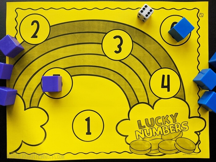 free rainbow addition bump game for kindergarten with 1 die