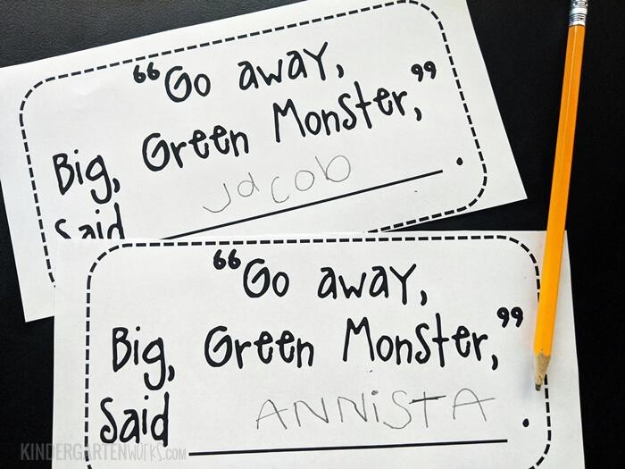 Big Green Monster Art Project for Kindergarten to display in the hallway