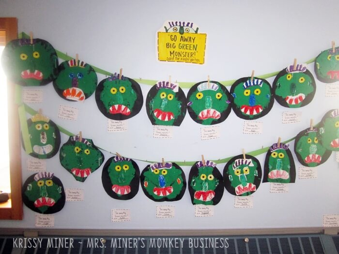 Classroom display for Go Away Big Green Monster Art Project for Kindergarten