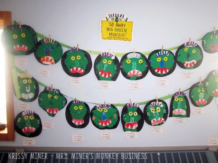Classroom display for Go Away Big Green Monster Art Project for Kindergarten