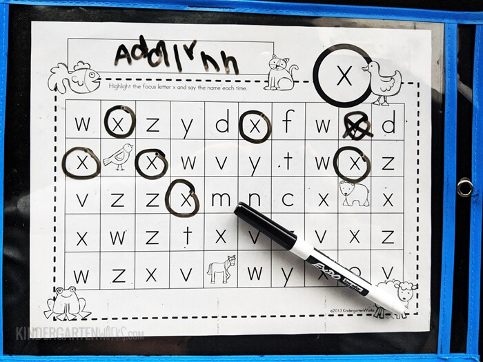 Find the matching letters worksheet with dry erase markers