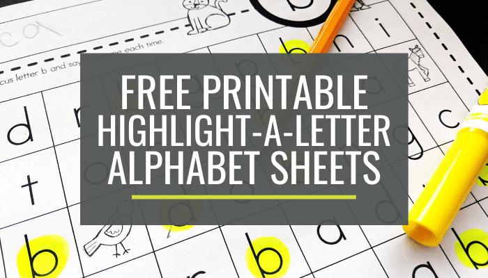 Highlight-a-Letter Alphabet Pages for Kindergarten