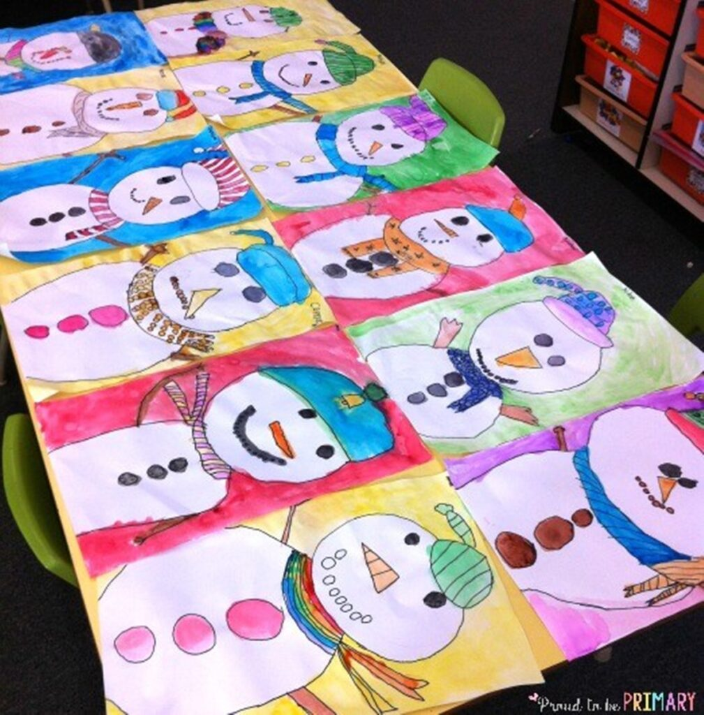 Row of kid-drawn snowmen