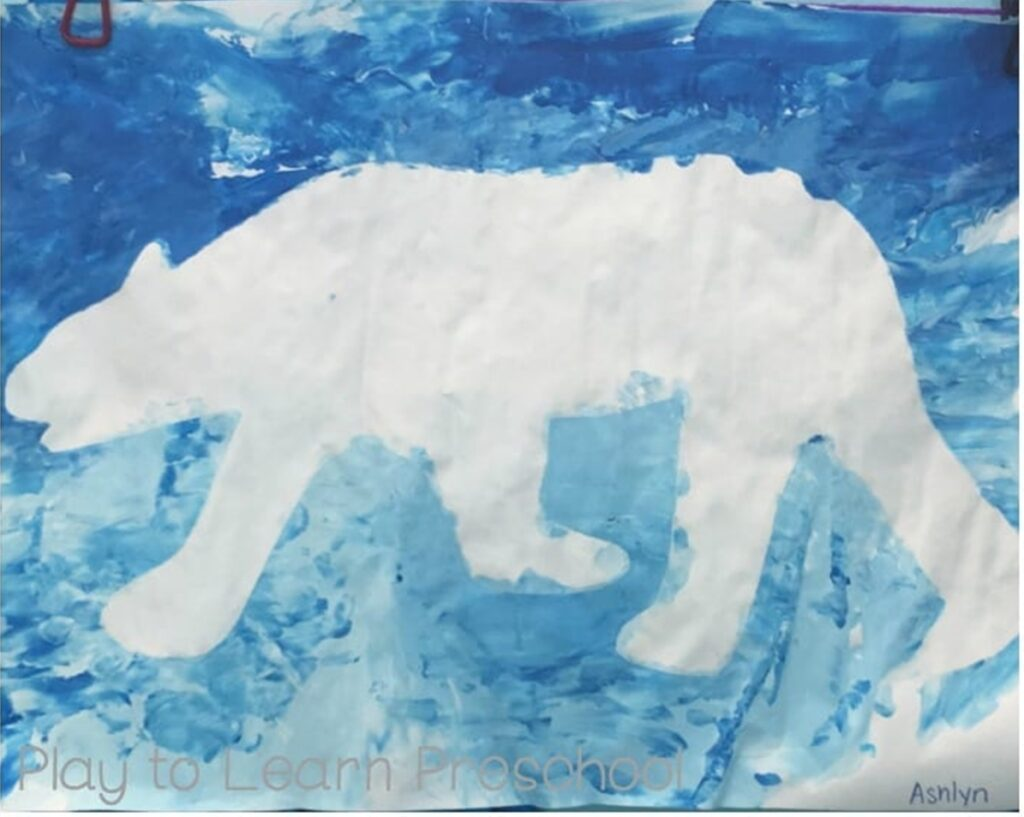 Polar bear imprint left behind with paint around